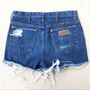 Wrangler Dark Wash Distressed Cut Off Shorts